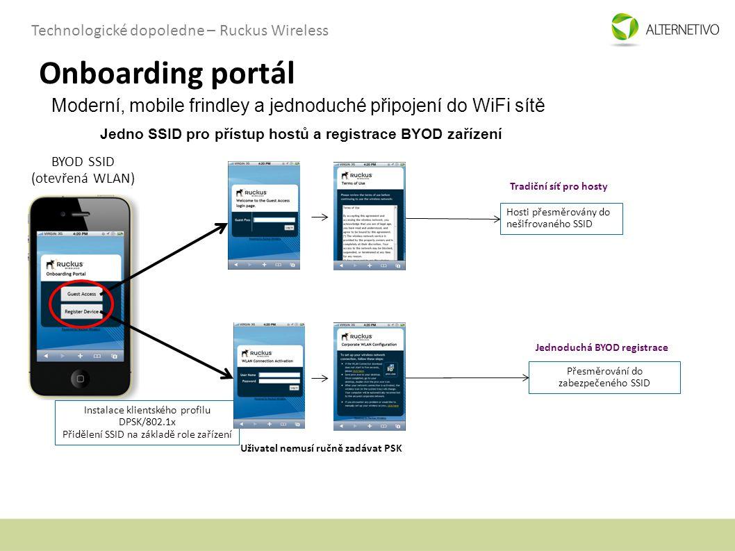 Technologické dopoledne – Ruckus Wireless Onboarding portál BYOD SSID (otevřená WLAN) Hosti přesměrovány do nešifrovaného SSID Instalace klientského p