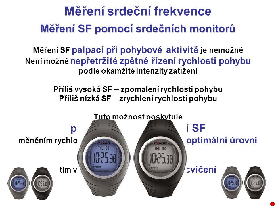 Měření SF pomocí srdečních monitorů Měření SF palpací při pohybové aktivitě je nemožné Není možné nepřetržité zpětné řízení rychlosti pohybu podle oka