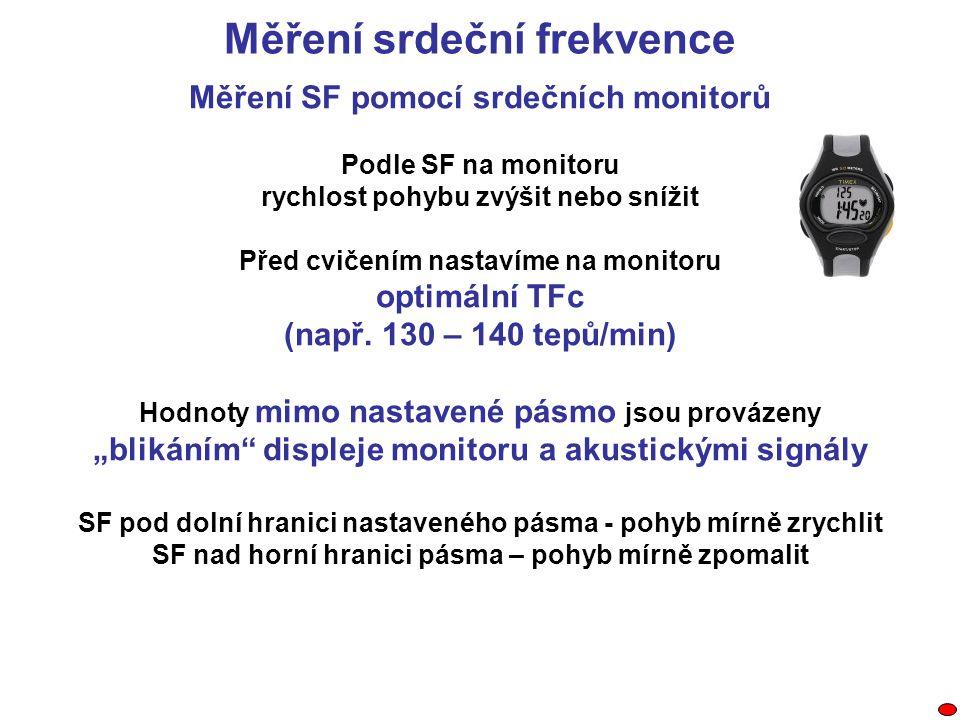 Měření SF pomocí srdečních monitorů Podle SF na monitoru rychlost pohybu zvýšit nebo snížit Před cvičením nastavíme na monitoru optimální TFc (např. 1