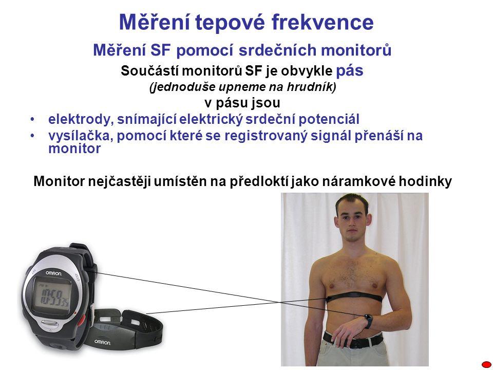 Měření tepové frekvence Měření SF pomocí srdečních monitorů Součástí monitorů SF je obvykle pás (jednoduše upneme na hrudník) v pásu jsou elektrody, s