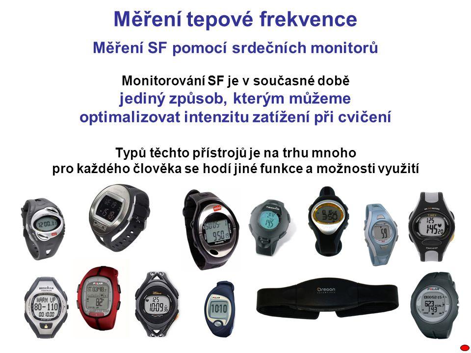 Měření SF pomocí srdečních monitorů Monitorování SF je v současné době jediný způsob, kterým můžeme optimalizovat intenzitu zatížení při cvičení Typů