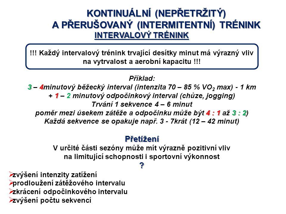 KONTINUÁLNÍ (NEPŘETRŽITÝ) A PŘERUŠOVANÝ (INTERMITENTNÍ) TRÉNINK INTERVALOVÝ TRÉNINK !!! Každý intervalový trénink trvající desítky minut má výrazný vl