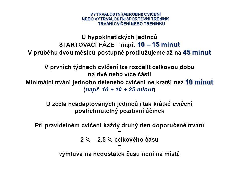VYTRVALOSTNÍ (AEROBNÍ) CVIČENÍ NEBO VYTRVALOSTNÍ SPORTOVNÍ TRÉNINK TRVÁNÍ CVIČENÍ NEBO TRÉNINKU U hypokinetických jedinců 10 – 15 minut STARTOVACÍ FÁZ