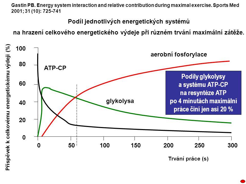 100150200250300500 100 80 60 40 20 0 Příspěvek k celkovému energetickému výdeji (%) Trvání práce (s) glykolysa aerobní fosforylace ATP-CP Gastin PB. E
