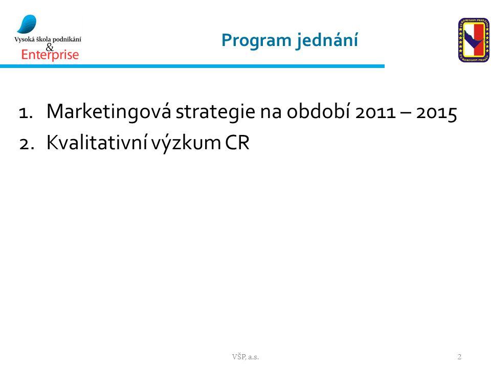 & Program jednání 1.Marketingová strategie na období 2011 – 2015 2.Kvalitativní výzkum CR 2VŠP, a.s.