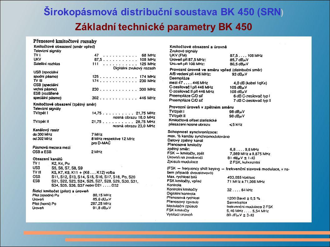 Širokopásmová distribuční soustava BK 450 (SRN ) Základní technické parametry BK 450