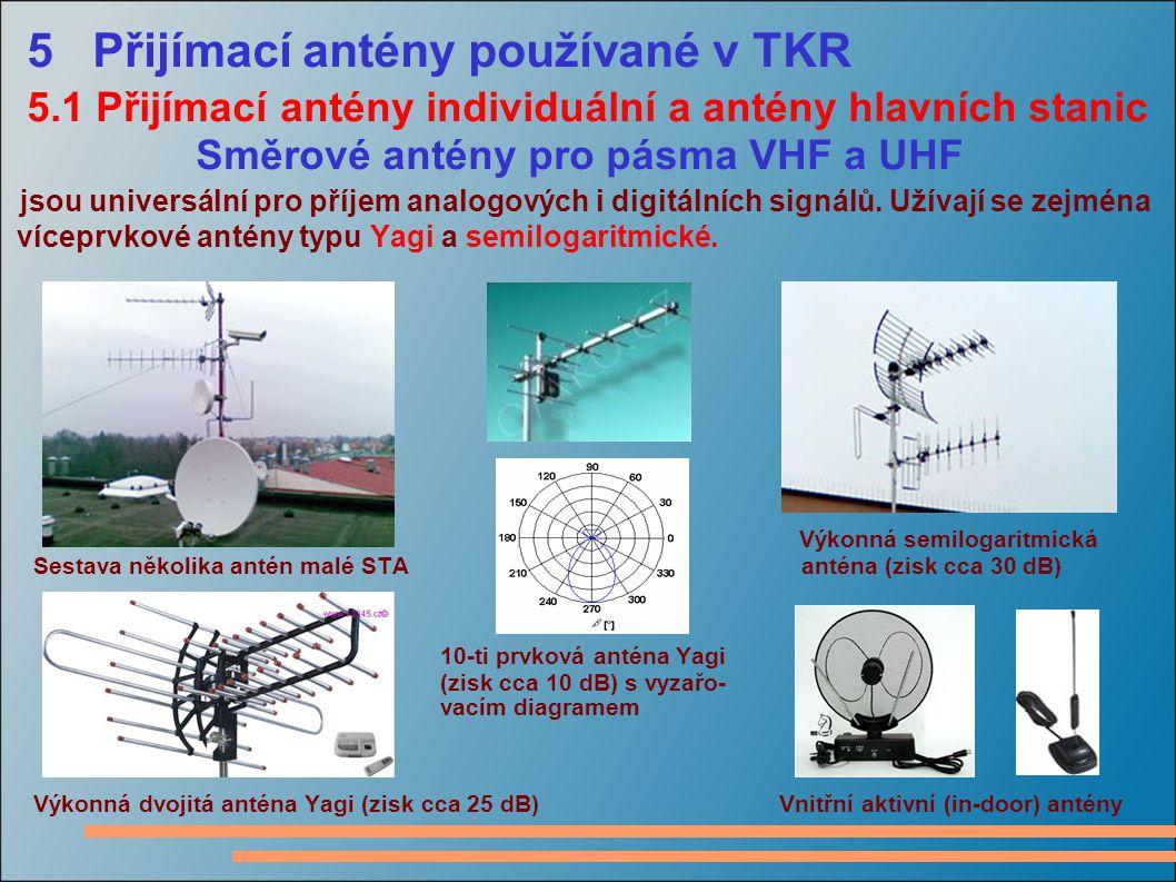 5 Přijímací antény používané v TKR 5.1 Přijímací antény individuální a antény hlavních stanic Směrové antény pro pásma VHF a UHF jsou universální pro příjem analogových i digitálních signálů.
