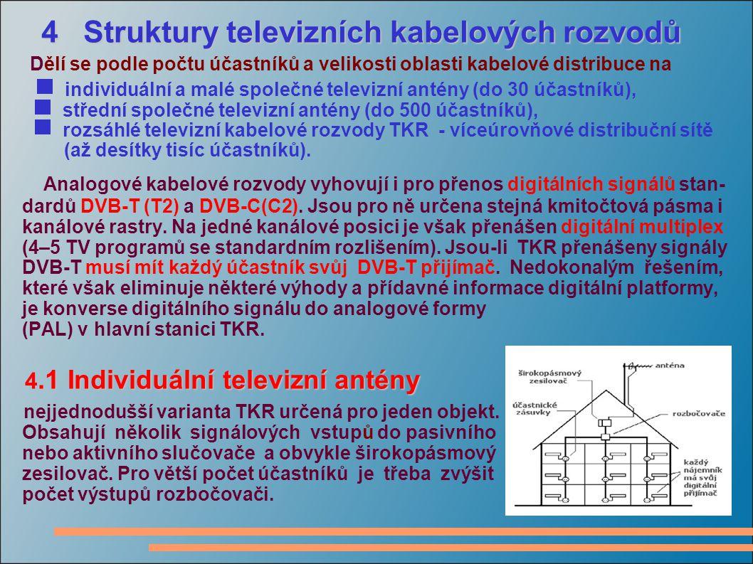 4 Struktury televizních kabelových rozvodů 4 Struktury televizních kabelových rozvodů Dělí se podle počtu účastníků a velikosti oblasti kabelové distribuce na  individuální a malé společné televizní antény (do 30 účastníků),  střední společné televizní antény (do 500 účastníků),  rozsáhlé televizní kabelové rozvody TKR - víceúrovňové distribuční sítě (až desítky tisíc účastníků).