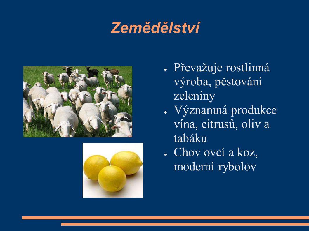 Zemědělství ● Převažuje rostlinná výroba, pěstování zeleniny ● Významná produkce vína, citrusů, oliv a tabáku ● Chov ovcí a koz, moderní rybolov