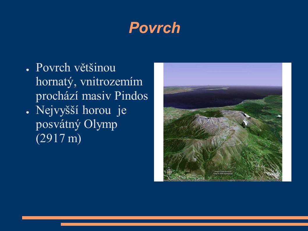 Povrch ● Povrch většinou hornatý, vnitrozemím prochází masiv Pindos ● Nejvyšší horou je posvátný Olymp (2917 m)