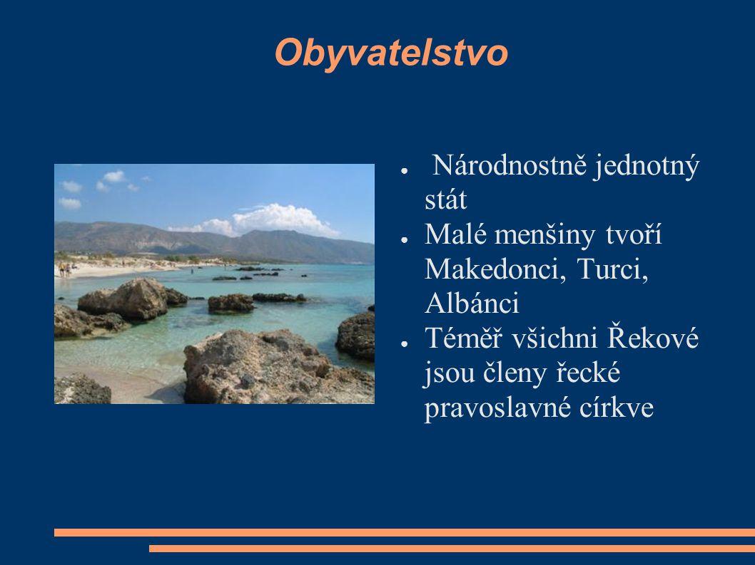Obyvatelstvo ● Národnostně jednotný stát ● Malé menšiny tvoří Makedonci, Turci, Albánci ● Téměř všichni Řekové jsou členy řecké pravoslavné církve