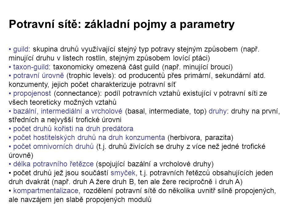 Potravní sítě: základní pojmy a parametry guild: skupina druhů využívající stejný typ potravy stejným způsobem (např. minující druhu v listech rostlin