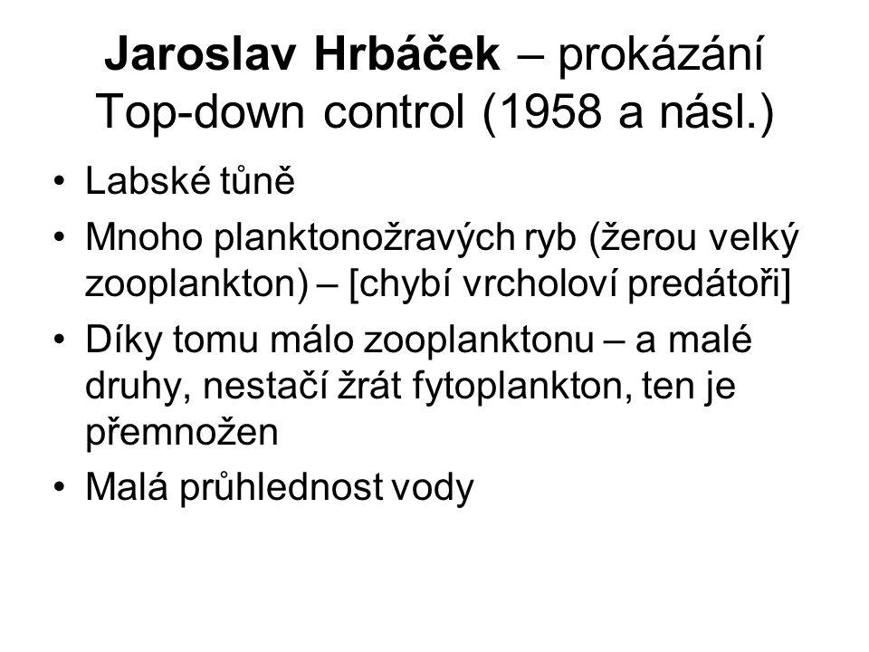 Jaroslav Hrbáček – prokázání Top-down control (1958 a násl.) Labské tůně Mnoho planktonožravých ryb (žerou velký zooplankton) – [chybí vrcholoví predá
