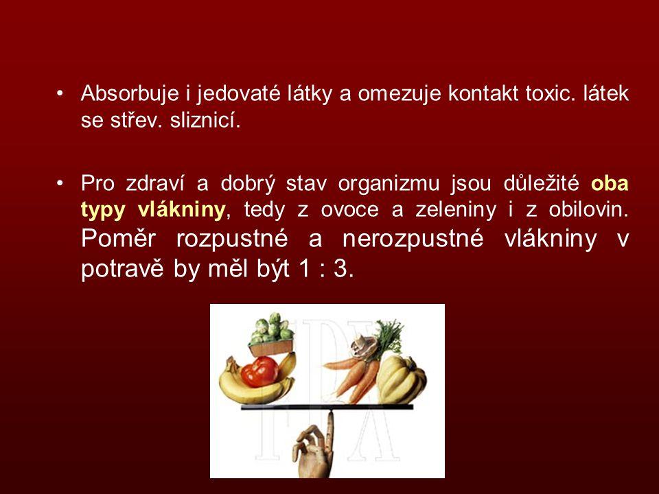 Absorbuje i jedovaté látky a omezuje kontakt toxic.