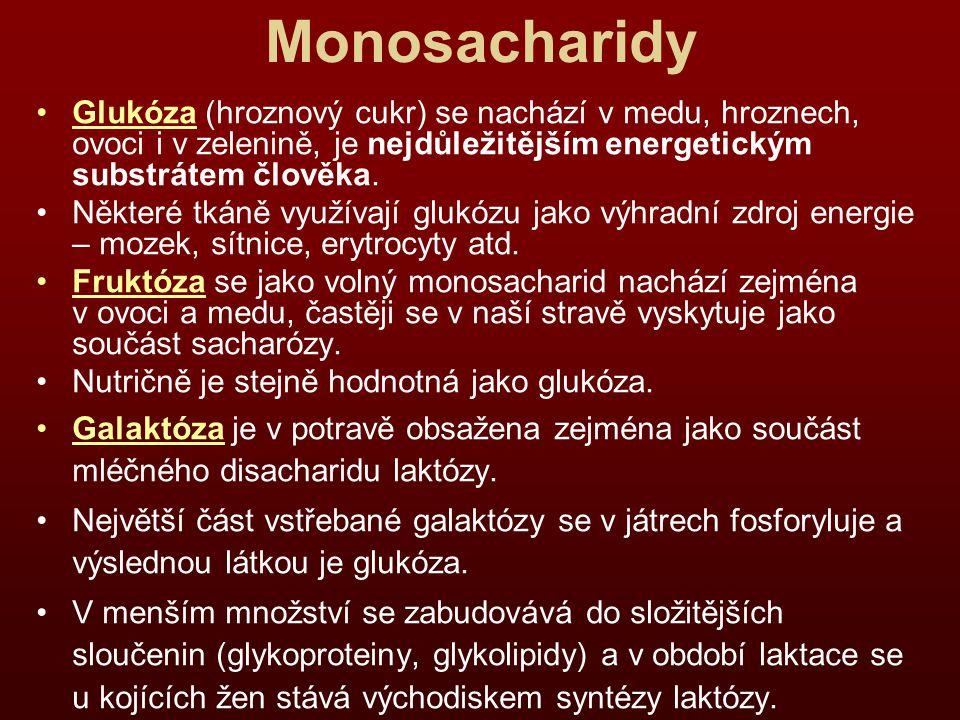 Monosacharidy Glukóza (hroznový cukr) se nachází v medu, hroznech, ovoci i v zelenině, je nejdůležitějším energetickým substrátem člověka.