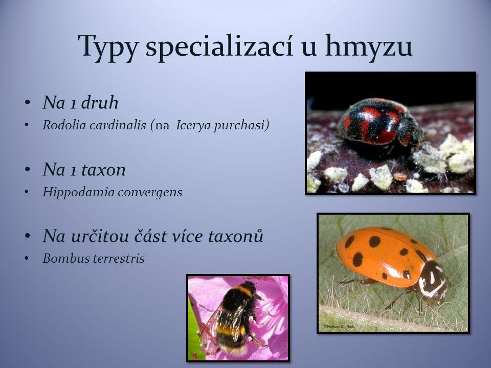Typy specializací u hmyzu Na 1 druh Rodolia cardinalis (na Icerya purchasi) Na 1 taxon Hippodamia convergens Na určitou část více taxonů Bombus terrestris