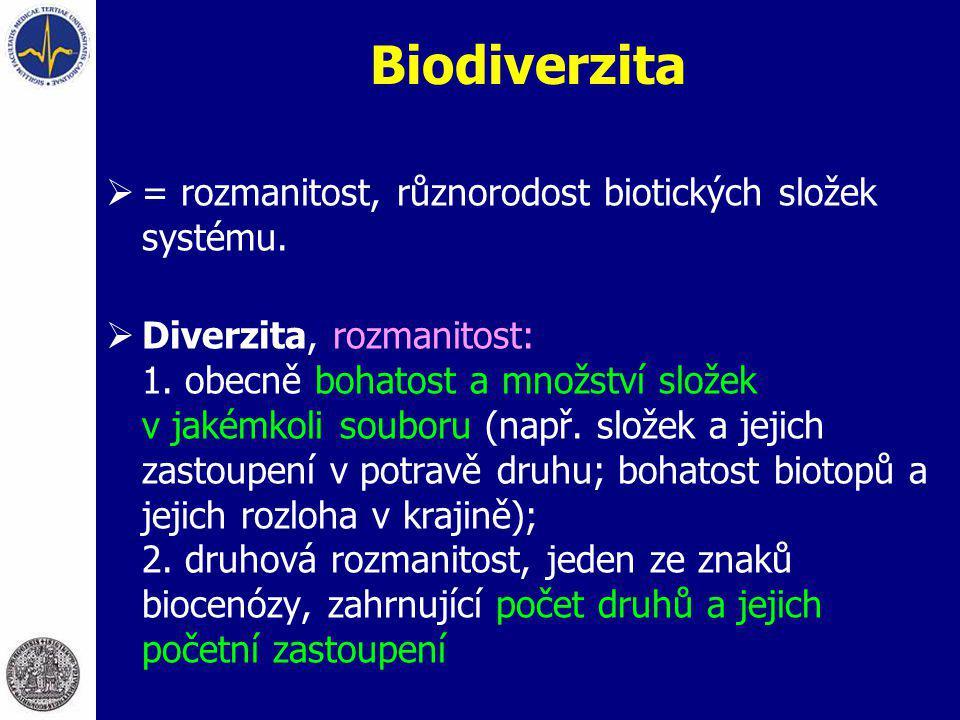 Biodiverzita  = rozmanitost, různorodost biotických složek systému.  Diverzita, rozmanitost: 1. obecně bohatost a množství složek v jakémkoli soubor