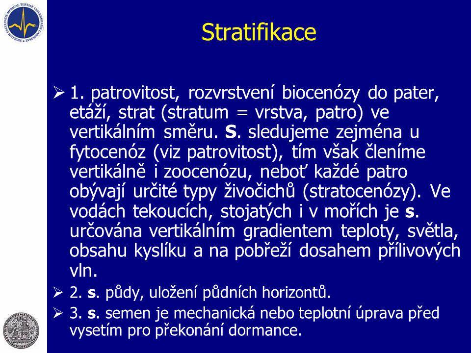Stratifikace  1. patrovitost, rozvrstvení biocenózy do pater, etáží, strat (stratum = vrstva, patro) ve vertikálním směru. S. sledujeme zejména u fyt
