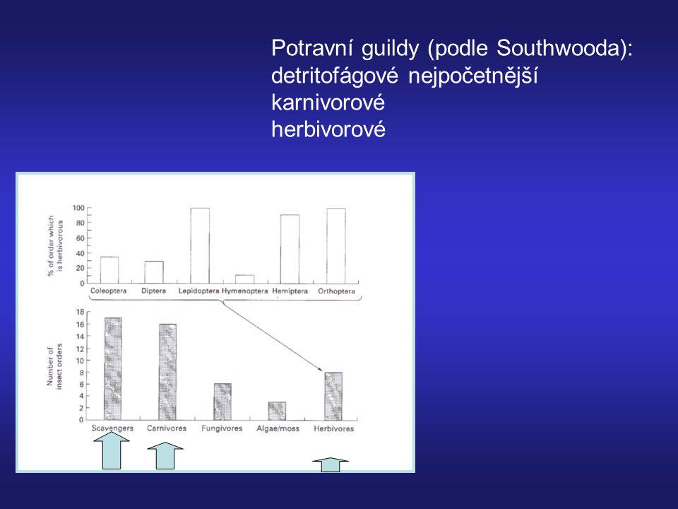 Potravní guildy (podle Southwooda): detritofágové nejpočetnější karnivorové herbivorové