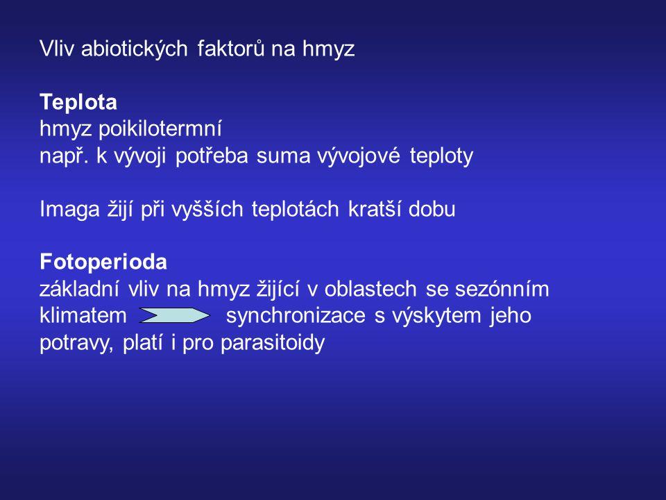 Vliv abiotických faktorů na hmyz Teplota hmyz poikilotermní např.