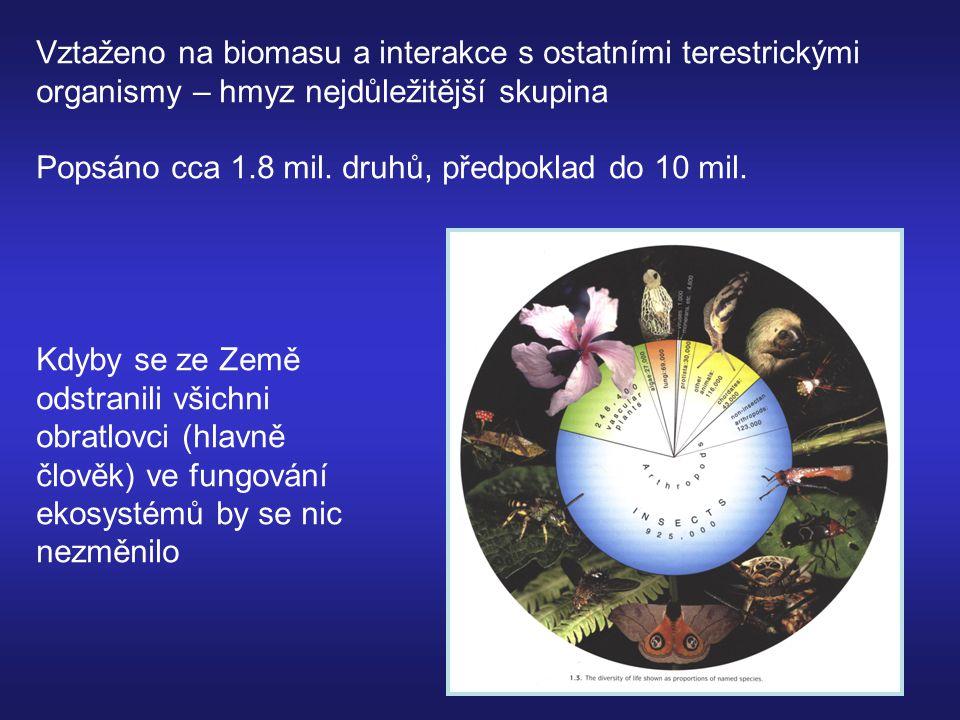 Hmyz a habitaty Homogenní habitaty – relativně málo vhodných nik Čím bohatší flóra tím bohatší entomofauna Pro hmyz nejvhodnější – mozaiky habitatů Zvláštní habitat = hybridní zóny rostlin Obdobně platí i pro ostatní potravní guildy