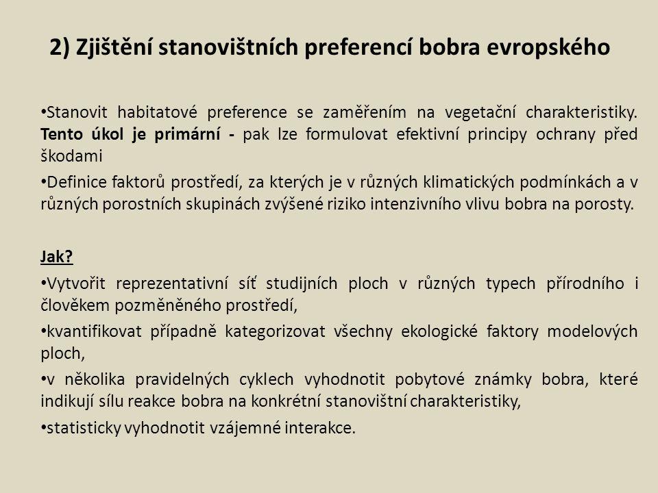 2) Zjištění stanovištních preferencí bobra evropského Stanovit habitatové preference se zaměřením na vegetační charakteristiky. Tento úkol je primární