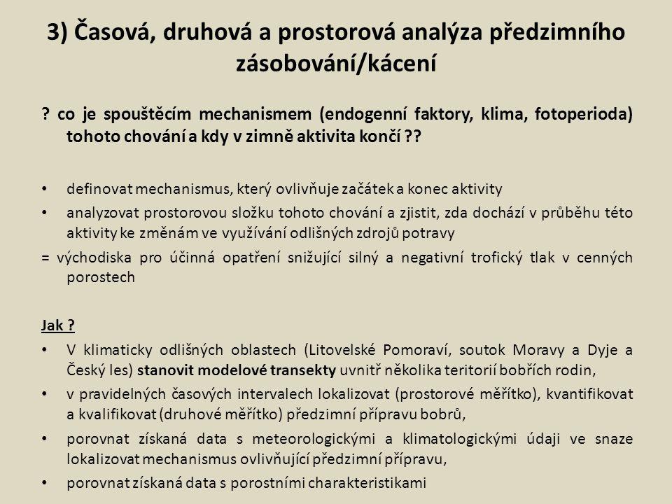 3) Časová, druhová a prostorová analýza předzimního zásobování/kácení ? co je spouštěcím mechanismem (endogenní faktory, klima, fotoperioda) tohoto ch