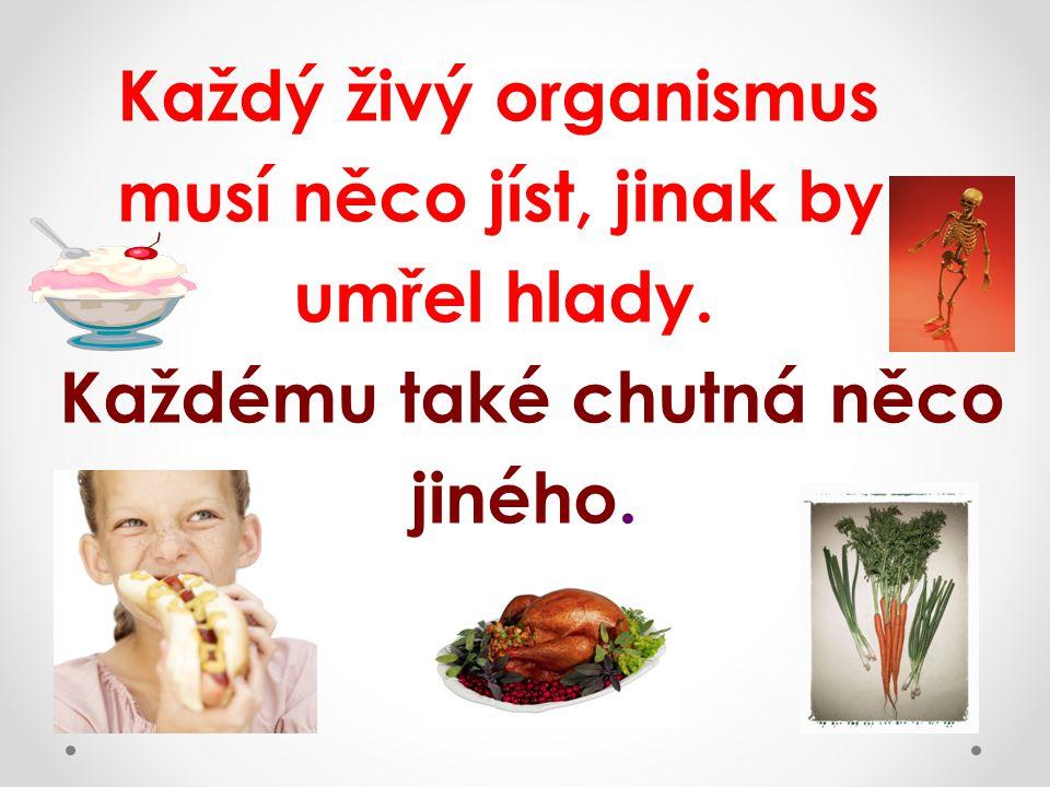Každý živý organismus musí něco jíst, jinak by umřel hlady. Každému také chutná něco jiného.
