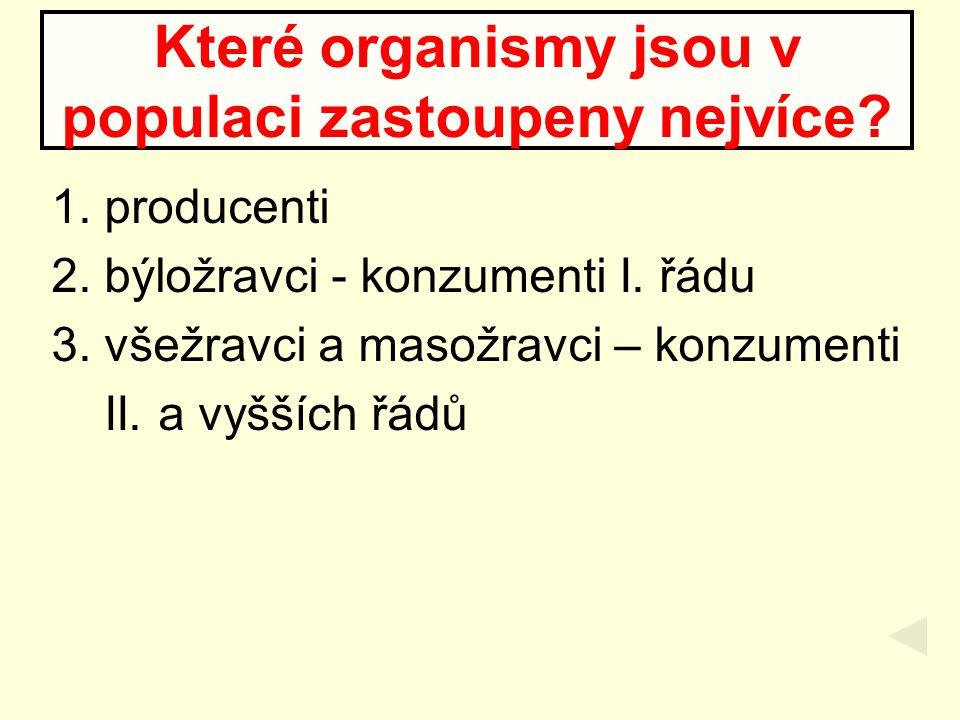 1. producenti 2. býložravci - konzumenti I. řádu 3. všežravci a masožravci – konzumenti II. a vyšších řádů Které organismy jsou v populaci zastoupeny