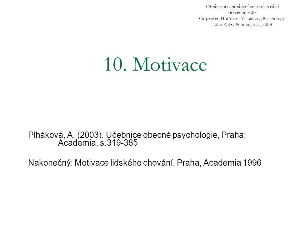 10. Motivace Plháková, A. (2003). Učebnice obecné psychologie, Praha: Academia, s.319-385 Nakonečný: Motivace lidského chování, Praha, Academia 1996 O