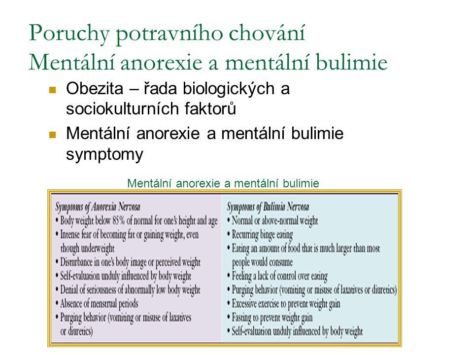 Poruchy potravního chování Mentální anorexie a mentální bulimie Obezita – řada biologických a sociokulturních faktorů Mentální anorexie a mentální bul