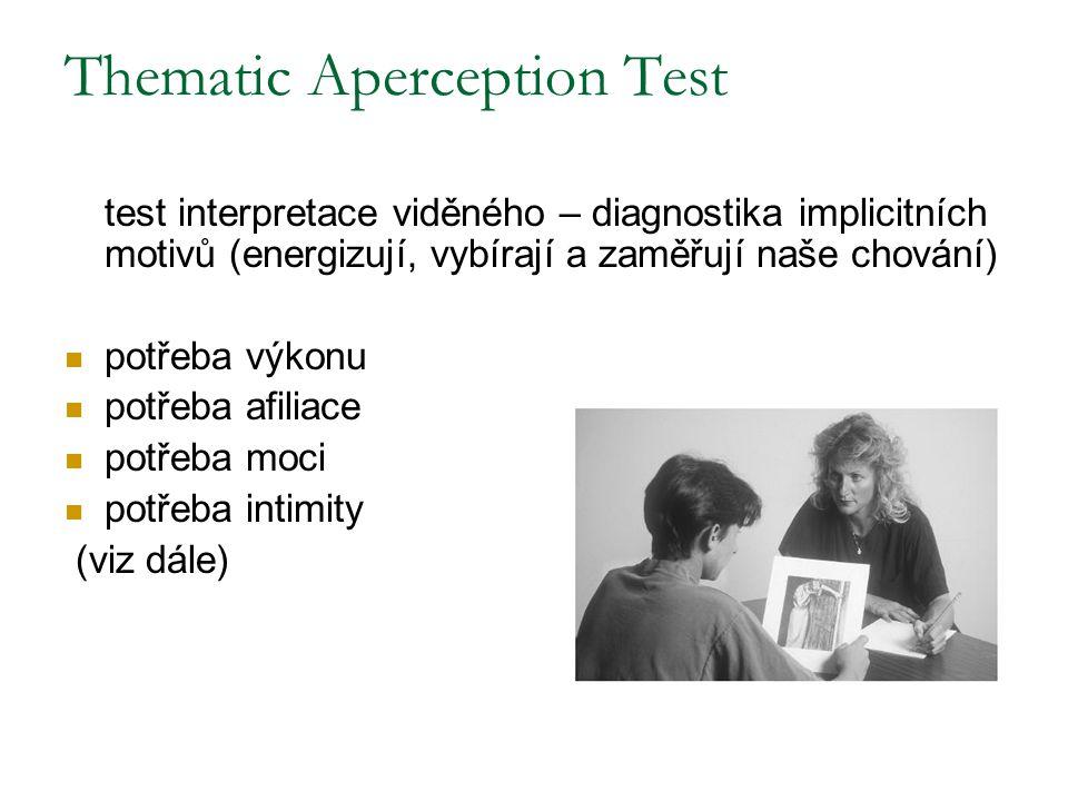 Thematic Aperception Test test interpretace viděného – diagnostika implicitních motivů (energizují, vybírají a zaměřují naše chování) potřeba výkonu p