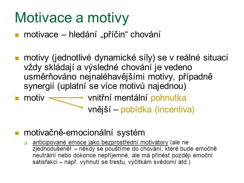 """Motivace a motivy motivace – hledání """"příčin"""" chování motivy (jednotlivé dynamické síly) se v reálné situaci vždy skládají a výsledné chování je veden"""