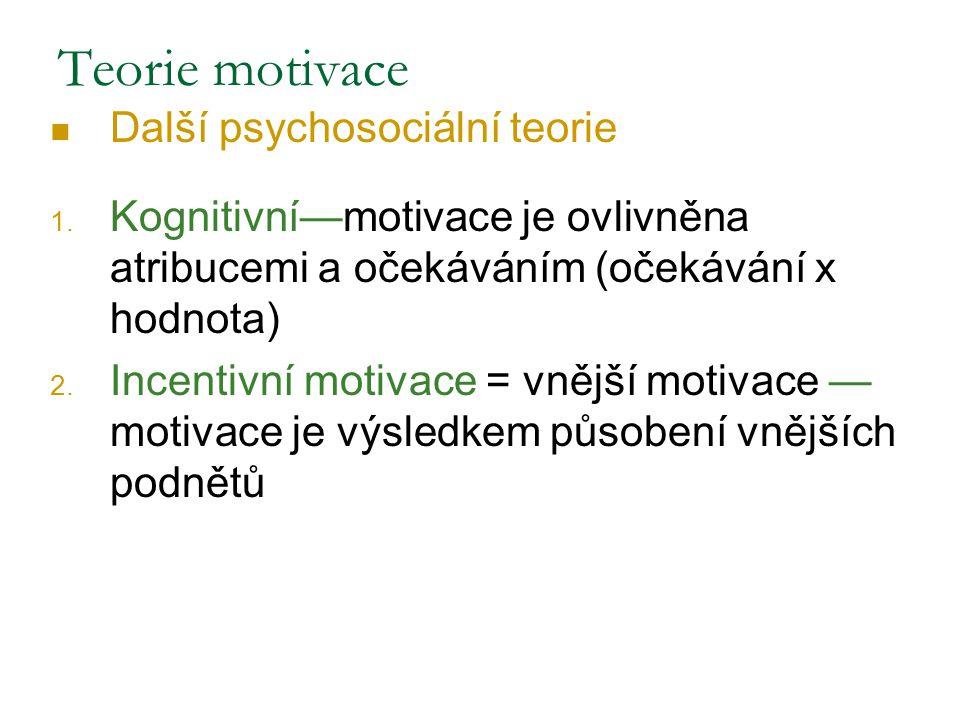 Další psychosociální teorie 1. Kognitivní—motivace je ovlivněna atribucemi a očekáváním (očekávání x hodnota) 2. Incentivní motivace = vnější motivace