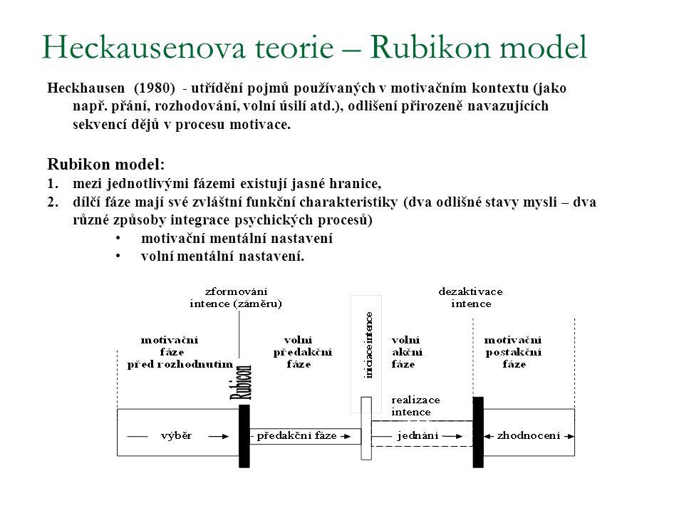 Heckausenova teorie – Rubikon model Heckhausen (1980) - utřídění pojmů používaných v motivačním kontextu (jako např. přání, rozhodování, volní úsilí a