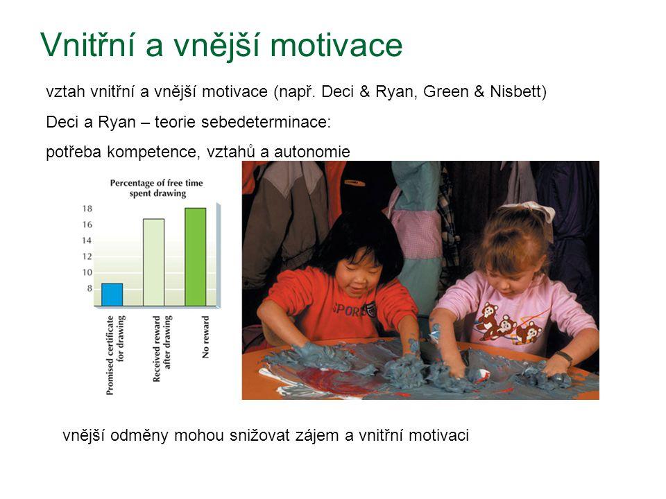 Vnitřní a vnější motivace vnější odměny mohou snižovat zájem a vnitřní motivaci vztah vnitřní a vnější motivace (např. Deci & Ryan, Green & Nisbett) D