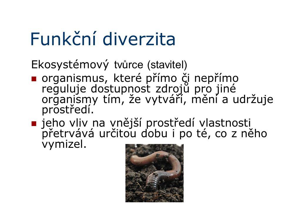 Funkční diverzita Ekosystémový tvůrce (stavitel) organismus, které přímo či nepřímo reguluje dostupnost zdrojů pro jiné organismy tím, že vytváří, mění a udržuje prostředí.