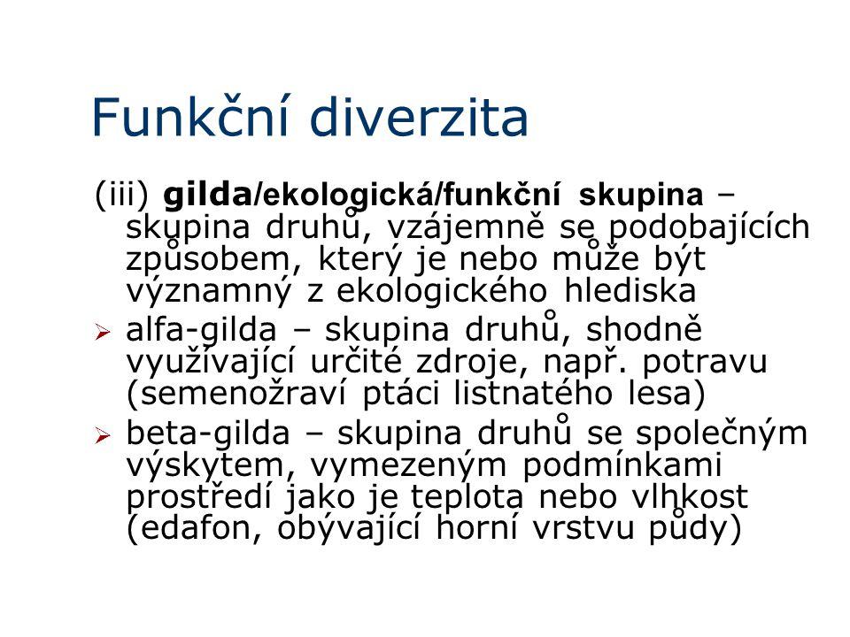 Funkční diverzita (iii) gilda /ekologická/funkční skupina – skupina druhů, vzájemně se podobajících způsobem, který je nebo může být významný z ekologického hlediska  alfa-gilda – skupina druhů, shodně využívající určité zdroje, např.