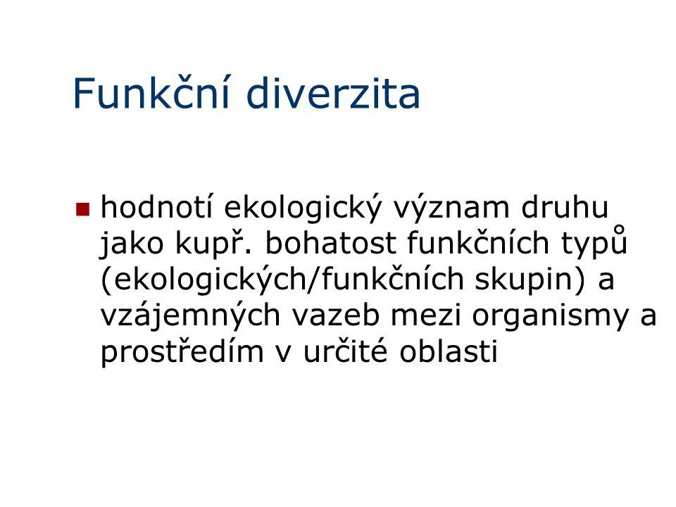 Funkční diverzita hodnotí ekologický význam druhu jako kupř.