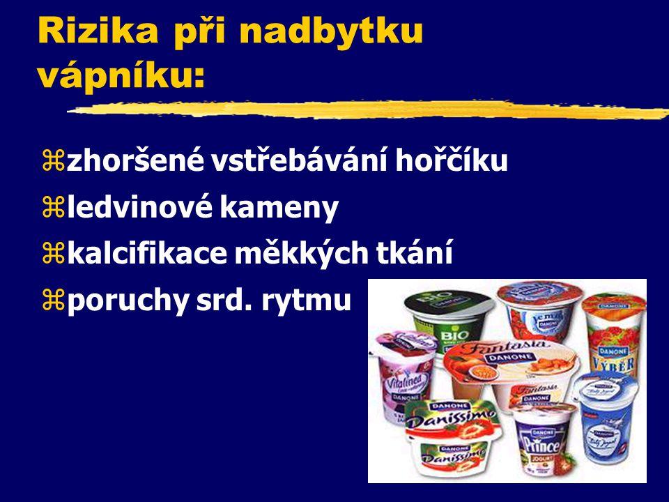 Faktory ovlivňující negativně vstřebávání vápníku: zNadměrné solení = zvýšené vylučování Ca močí zNadměrný příjem kofeinu zNadměrný příjem bílkovin zN