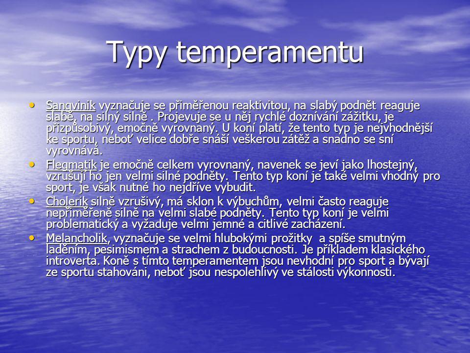 Typy temperamentu Sangvinik vyznačuje se přiměřenou reaktivitou, na slabý podnět reaguje slabě, na silný silně. Projevuje se u něj rychlé doznívání zá