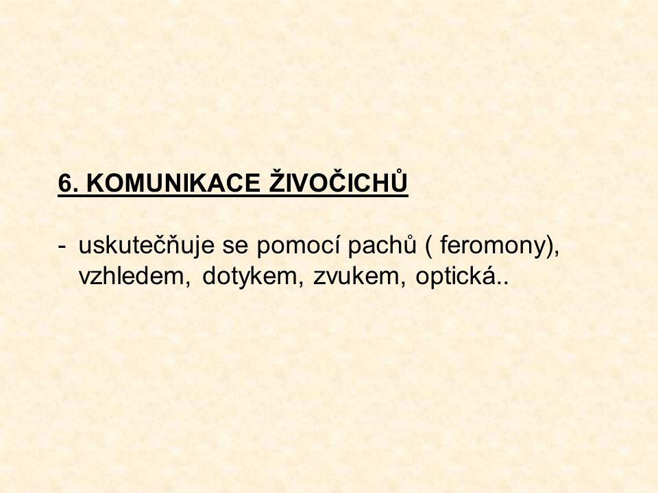 6. KOMUNIKACE ŽIVOČICHŮ -uskutečňuje se pomocí pachů ( feromony), vzhledem, dotykem, zvukem, optická..