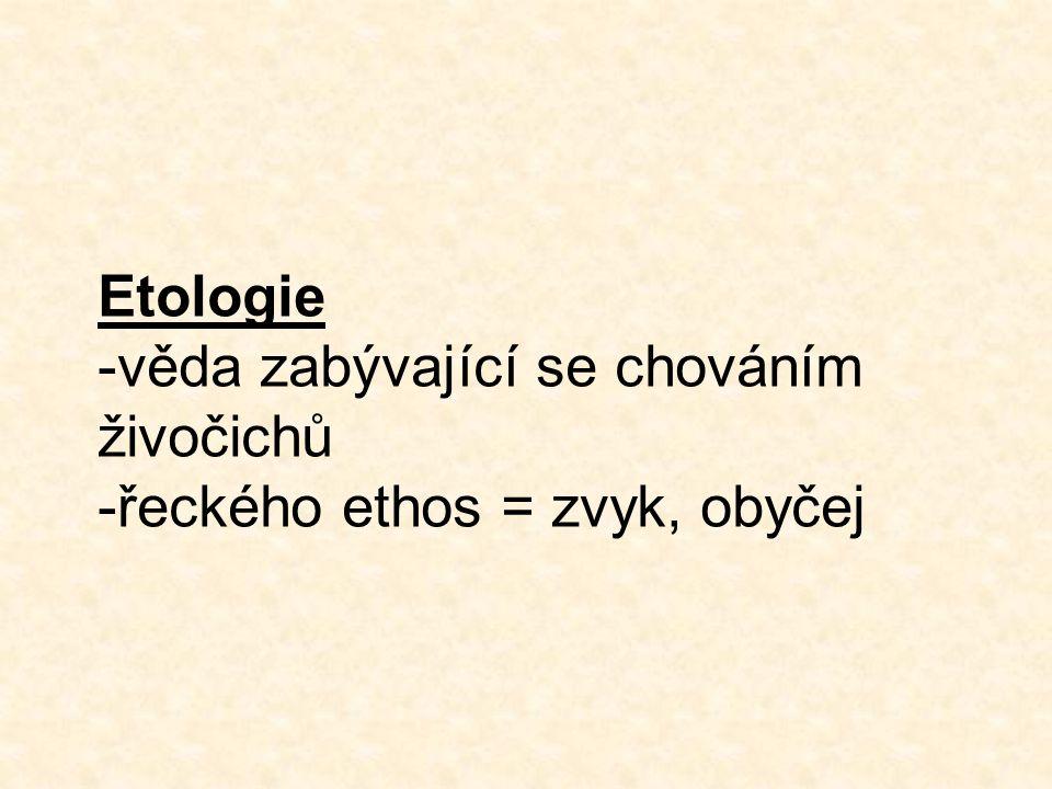 -věda zabývající se chováním živočichů -řeckého ethos = zvyk, obyčej