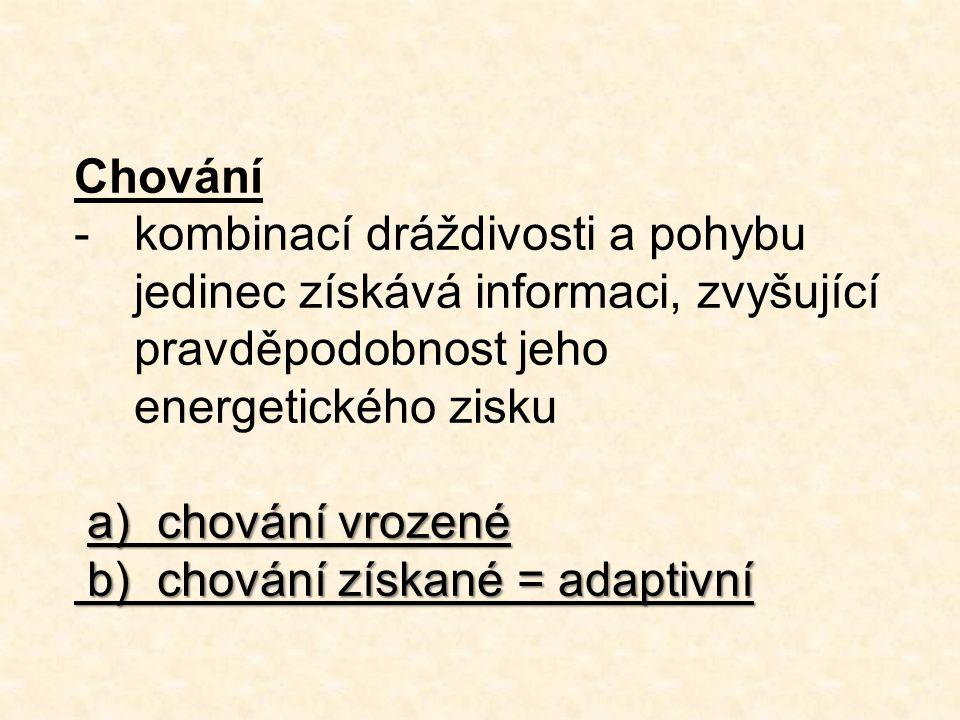 Chování -kombinací dráždivosti a pohybu jedinec získává informaci, zvyšující pravděpodobnost jeho energetického zisku a) chování vrozené b) chování získané = adaptivní b) chování získané = adaptivní