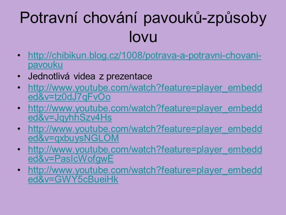 Potravní chování pavouků-způsoby lovu http://chibikun.blog.cz/1008/potrava-a-potravni-chovani- pavoukuhttp://chibikun.blog.cz/1008/potrava-a-potravni-chovani- pavouku Jednotlivá videa z prezentace http://www.youtube.com/watch?feature=player_embedd ed&v=tz0dJ7qFvOohttp://www.youtube.com/watch?feature=player_embedd ed&v=tz0dJ7qFvOo http://www.youtube.com/watch?feature=player_embedd ed&v=JqyhhSzv4Hshttp://www.youtube.com/watch?feature=player_embedd ed&v=JqyhhSzv4Hs http://www.youtube.com/watch?feature=player_embedd ed&v=qxbuysNGLOMhttp://www.youtube.com/watch?feature=player_embedd ed&v=qxbuysNGLOM http://www.youtube.com/watch?feature=player_embedd ed&v=PasIcWofgwEhttp://www.youtube.com/watch?feature=player_embedd ed&v=PasIcWofgwE http://www.youtube.com/watch?feature=player_embedd ed&v=GWY5cBueiHkhttp://www.youtube.com/watch?feature=player_embedd ed&v=GWY5cBueiHk