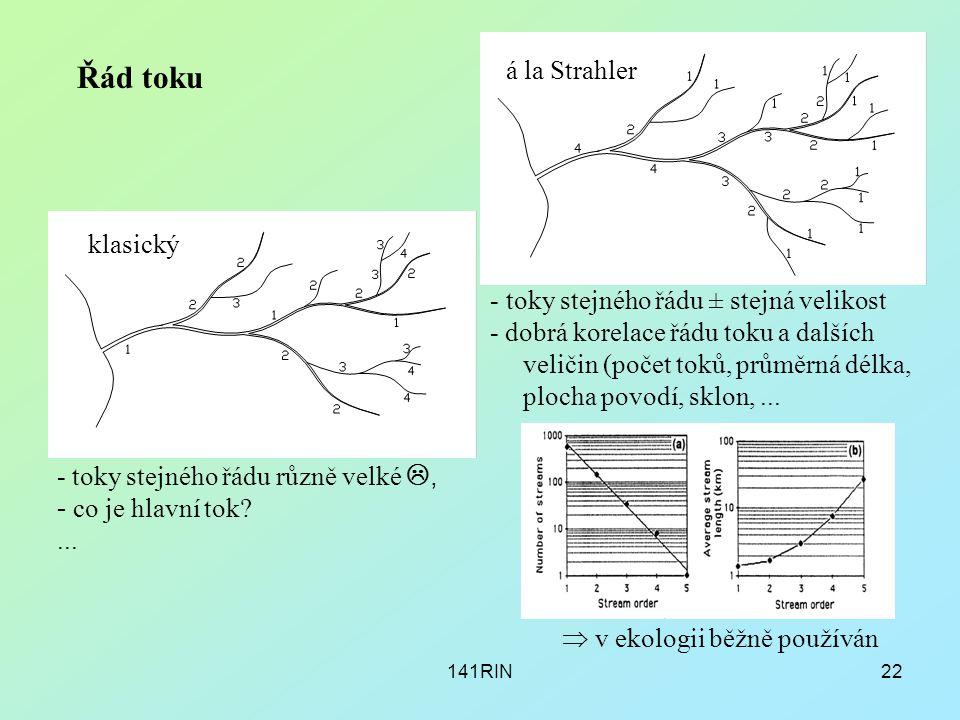 141RIN22 Řád toku á la Strahler klasický - toky stejného řádu různě velké , - co je hlavní tok?... - toky stejného řádu ± stejná velikost - dobrá kor