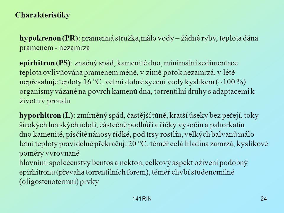 141RIN24 Charakteristiky hypokrenon (PR): pramenná stružka,málo vody – žádné ryby, teplota dána pramenem - nezamrzá epirhitron (PS): značný spád, kame
