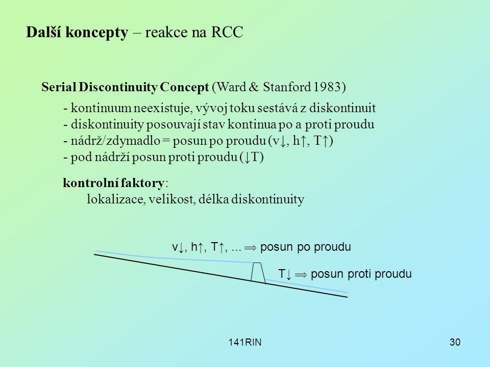 141RIN30 Další koncepty – reakce na RCC Serial Discontinuity Concept (Ward & Stanford 1983) - kontinuum neexistuje, vývoj toku sestává z diskontinuit