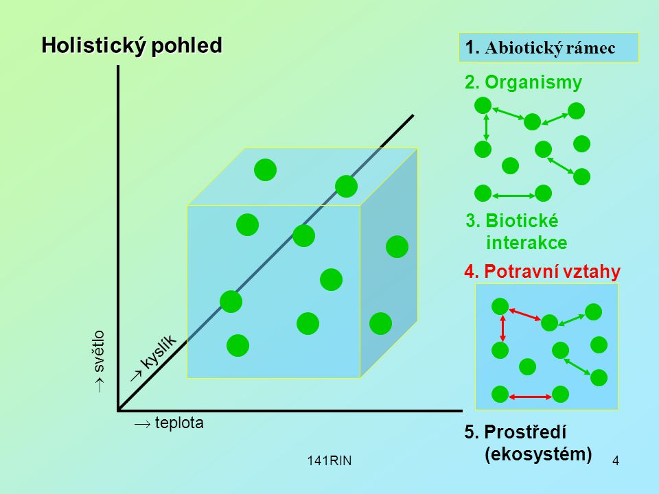 141RIN4 1. Abiotický rámec 2. Organismy 3. Biotické interakce  teplota  kyslík  světlo Holistický pohled 5. Prostředí (ekosystém) 4. Potravní vztah