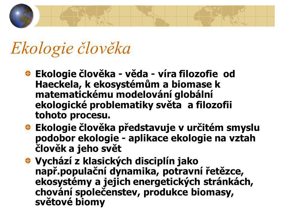 Ekologie člověka Oxidy dusíku - spalování fosilních paliv, plynové sporáky, hodnoty až blízké smogovým situacím Uhlovodíky - polycyklické aromatické uhlovodíky - spalování fosilních paliv, cigaretový kouř - kancerogenní Biologické kontaminanty - roztoči, plísně - alergie, chronická onemocnění dýchacích cest